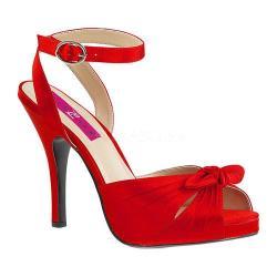 Women's Pleaser Pink Label Eve 01 Ankle-Strap Sandal Red Satin