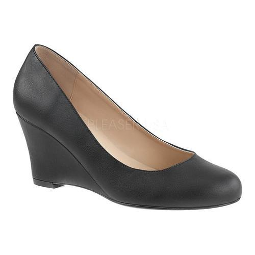 5d3e50fde357 Shop Women s Pleaser Pink Label Kimberly-08 Wedge Pump Black Faux Leather -  Free Shipping Today - Overstock.com - 17734229
