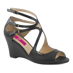 Women's Pleaser Pink Label Kimberly 04 Wedge Sandal Black Faux Leather