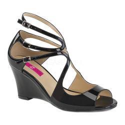 Women's Pleaser Pink Label Kimberly 04 Wedge Sandal Black Patent