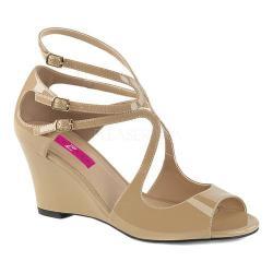 Women's Pleaser Pink Label Kimberly 04 Wedge Sandal Cream Patent