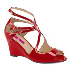 Women's Pleaser Pink Label Kimberly 04 Wedge Sandal Red Patent