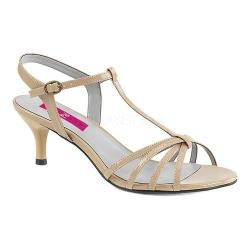 Women's Pleaser Pink Label Kitten 06 T-Strap Sandal Cream Patent