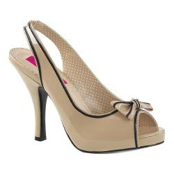 Women's Pleaser Pink Label Pinup 10 Slingback Cream-Black Patent
