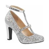 Women's Pleaser Pink Label Queen 01 T-Strap Pump Silver Glitter/Metallic Polyurethane