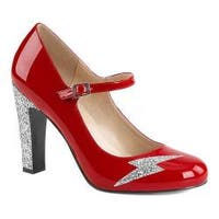 Women's Pleaser Pink Label Queen 02 Mary Jane Red Patent/Silver Glitter
