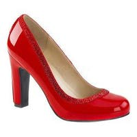 Women's Pleaser Pink Label Queen 04 Pump Red Patent