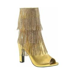 Women's Pleaser Pink Label Queen 100 Fringed Open-Toe Boot Gold Metallic Polyurethane (More options available)