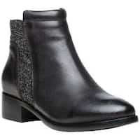 Women's Propet Taneka Plain Toe Bootie Black Full Grain Leather