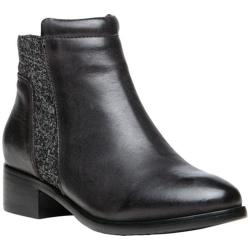 Women's Propet Taneka Plain Toe Bootie Black Full Grain Leather