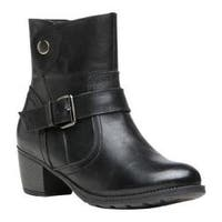 Women's Propet Teagan Wide Calf Boot Black Full Grain Leather