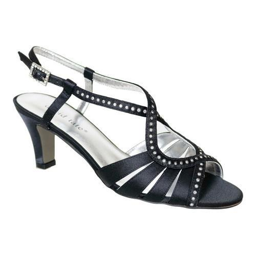 Women's David Tate Whisper Strappy Sandal Black Satin
