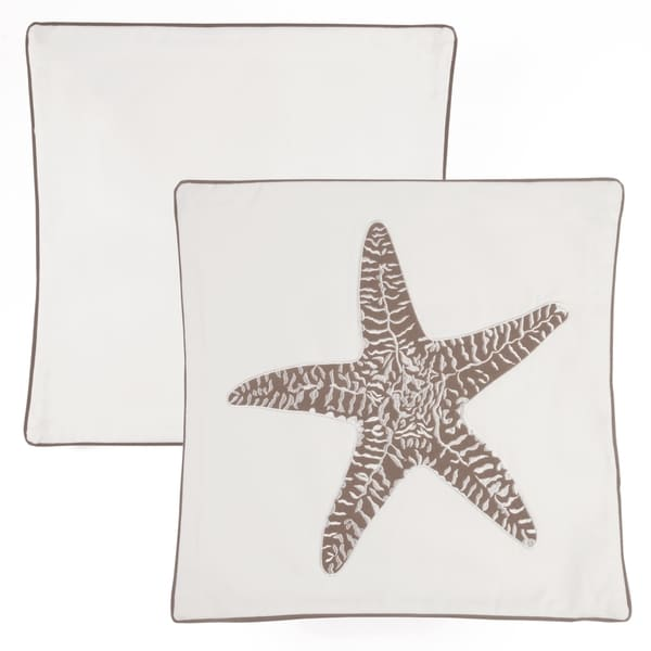 Panama Jack Starfish Neutral 18 inch Embroidered Decorative Pillow