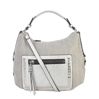 Diophy PU Leather Woven Pattern Stud Décor Hobo Handbag CB-6615 - L (Option: Silver)