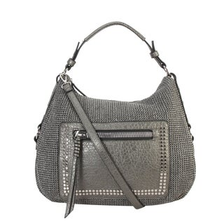 Diophy PU Leather Woven Pattern Stud Décor Hobo Handbag CB-6615 - L