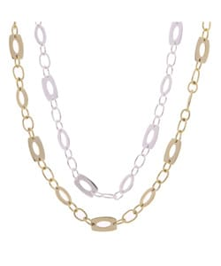 Mondevio Sterling Silver/18-kt Gold over Silver Link Necklace