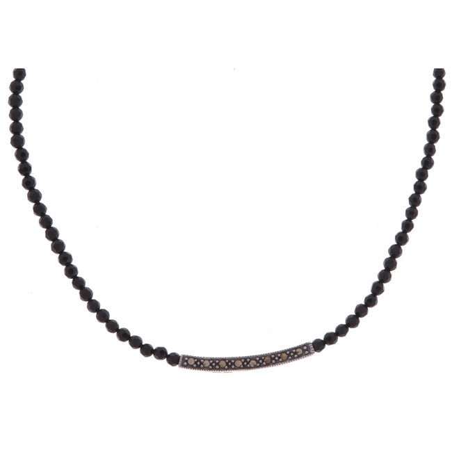 Glitzy Rocks Sterling Silver Marcasite and Black Onyx Bead Necklace