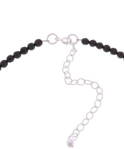 Glitzy Rocks Sterling Silver Marcasite and Black Onyx Bead Necklace - Thumbnail 1