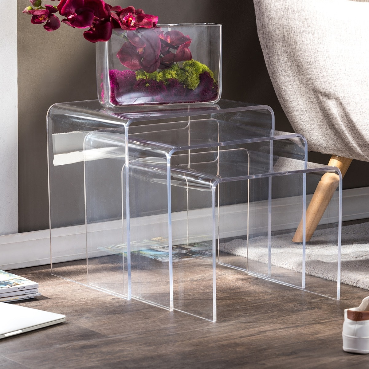 Shop Acrylic Nesting End Tables Set Of 3 Free Shipping On Orders