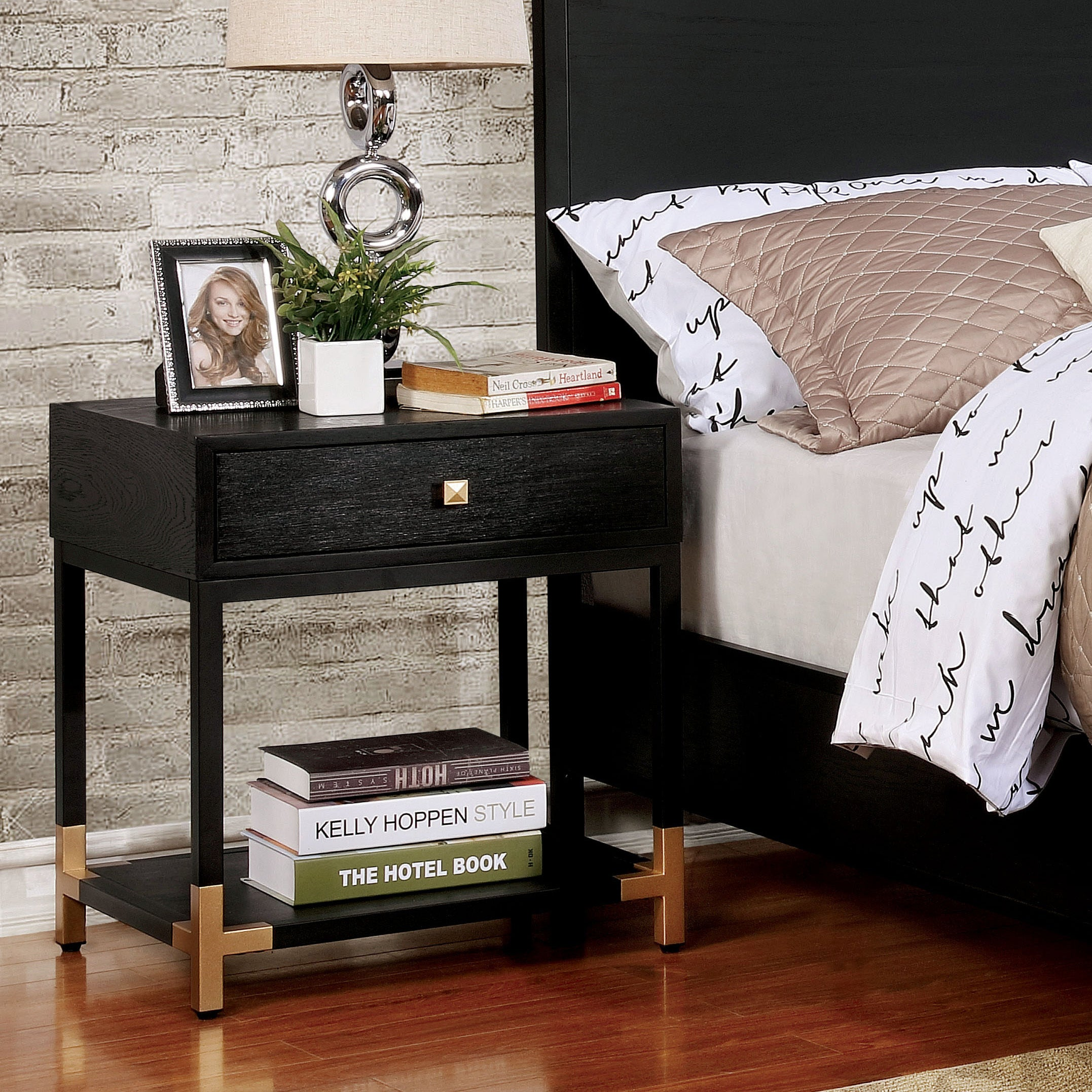 Furniture of america hutton contemporary black gold 1 drawer nightstand