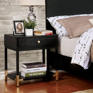 Furniture of America Hutton Contemporary Black/Gold 1-drawer Nightstand