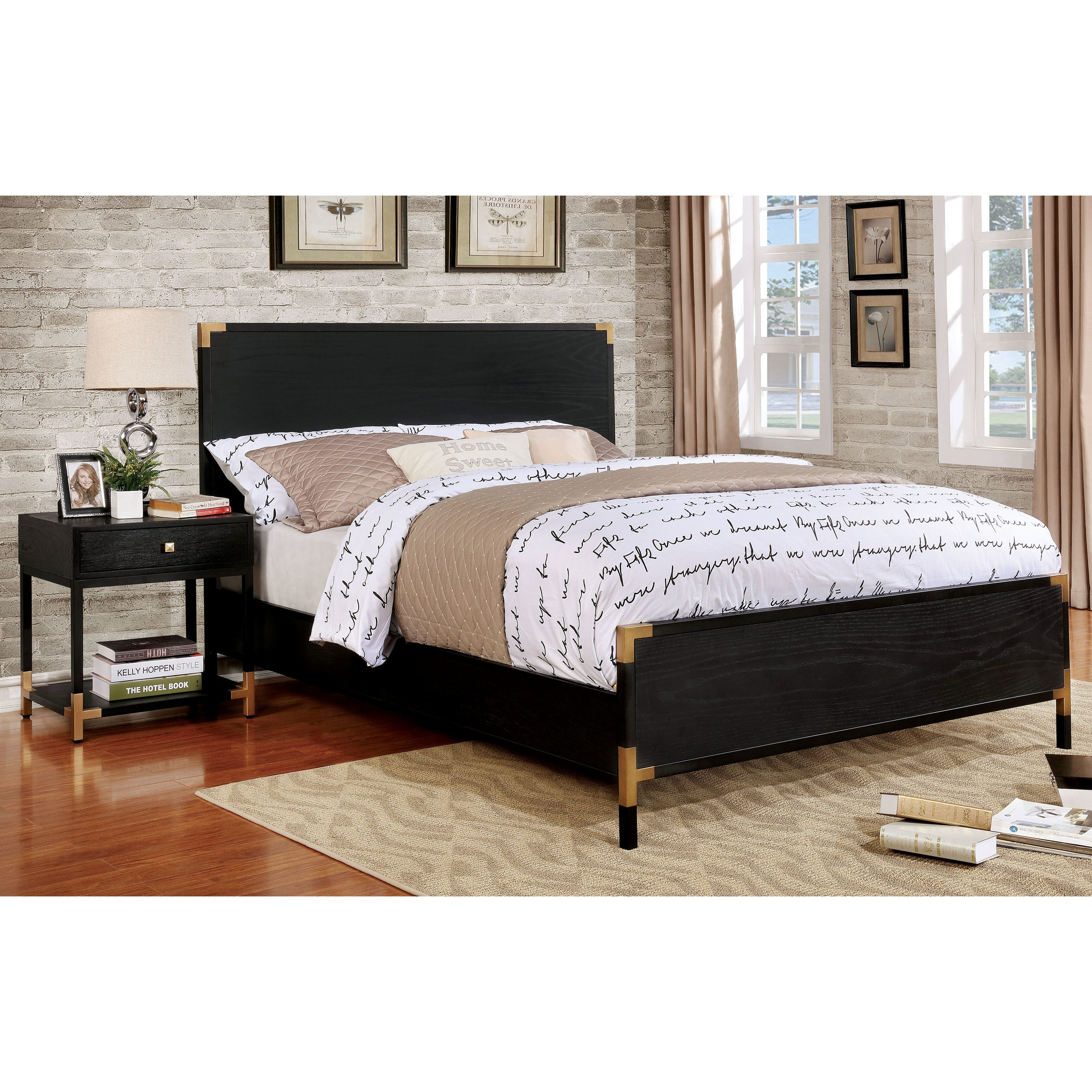 Furniture of America Hutton Contemporary Black/Gold Paneled Queen ...