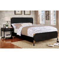 The Curated Nomad Gaviota Contemporary Black/ Gold Paneled Queen Bed