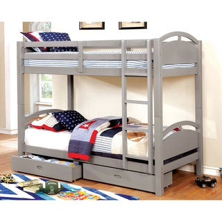 Furniture of America Dariela Cottage Style Grey Twin over Twin Bunk Bed with Drawers