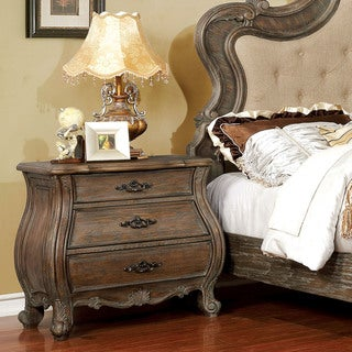 Furniture of America Yito Traditional Brown Solid Wood Nightstand