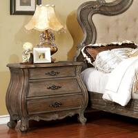 Furniture of America Montpierre Traditional Rustic Natural Tone Nightstand with Jewelry Storage