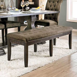 Furniture of America Reagan Transitional Grey Tufted Accent Bench
