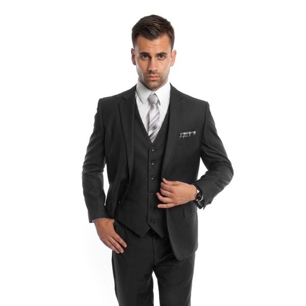 Men's Suit Modern Fit 3 Pieces Solid Two Button Suit