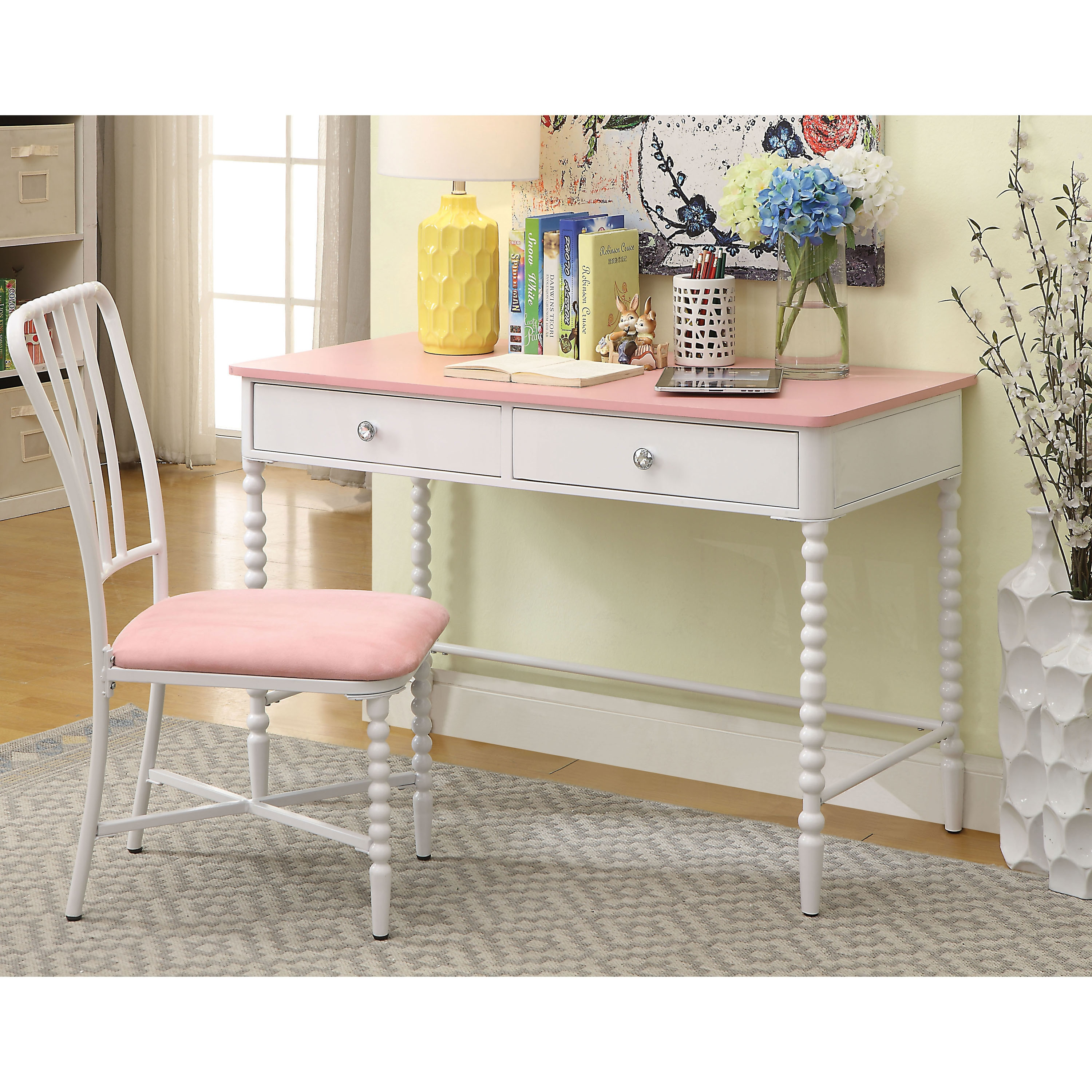 Cool Cerise Transitional White 2 Piece Desk And Chair Set By Foa Andrewgaddart Wooden Chair Designs For Living Room Andrewgaddartcom