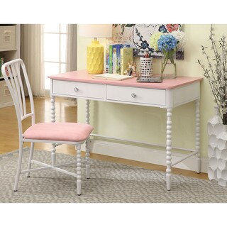 Furniture of America Cerise Transitional 2-piece Pink/White Desk & Chair Set