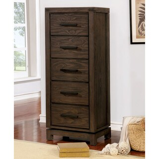 Furniture of America Vedaut Rustic Swivel 5-drawer Chest with Mirror