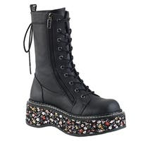 Demonia Women's Lace Up Side Zip Floral Print Platform Mid Calf Boots