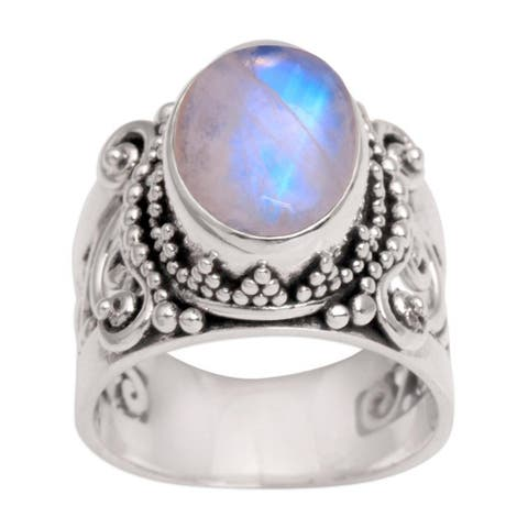 Handmade Sterling Silver 'Glorious Vines' Rainbow Moonstone Ring (Indonesia)
