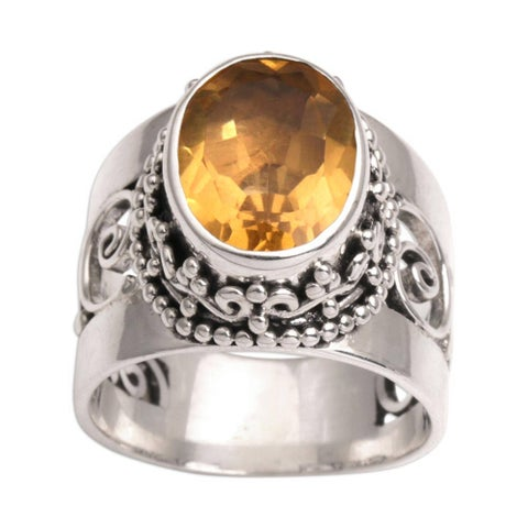 Handmade Sterling Silver 'Glorious Vines' Citrine Ring (Indonesia)