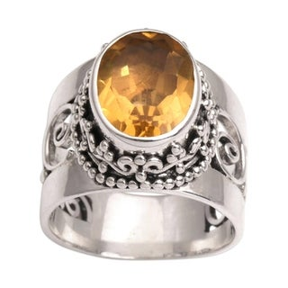Handmade Sterling Silver Glorious Vines Citrine Ring (Indonesia)