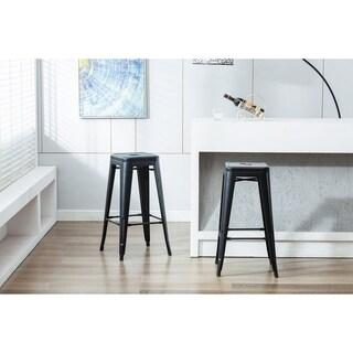Porthos Home Stackable Rust-Resistant Metal Barstool (Set of 2)