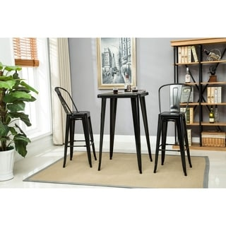 Porthos Home Rust-Resistant Metal Patio Barstool with Back(Set of 2)