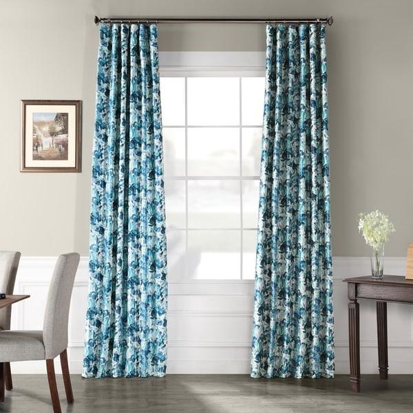 Exclusive Fabric Watercolor Printed Faux Silk Taffeta Blackout Curtain