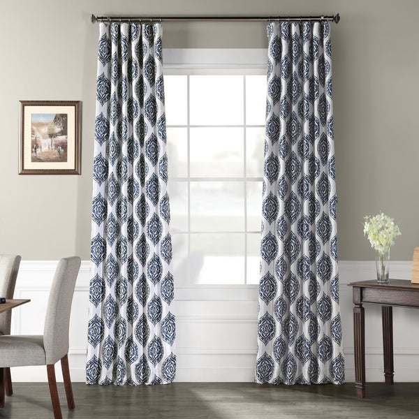 Exclusive Fabrics Donegal Printed Faux Silk Taffeta Blackout Curtain