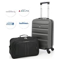 """Aerolite 22x14x9"""" American, United & Delta Airlines MAX ABS Hardshell Luggage Suitcase Spinner Carry On & Underseat"""