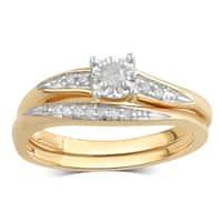 Divina 10K Yellow Gold 1/8ct TDW Diamond Bridal Set.(I-J/I2-I3)