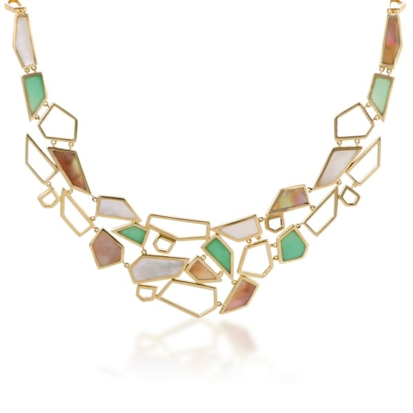 bd23db74a5dd46 Polished Rock Candy Large Yellow Gold Multi-Colored Stone Bib Necklace