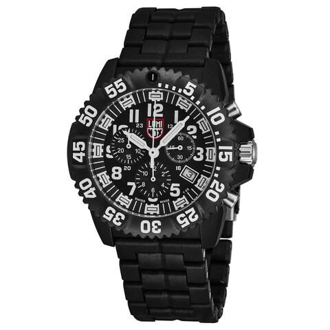 Luminox Men's 'Navy Seal 3080' Black Dial Black Carbon Compound Bracelet Swiss Quartz Watch