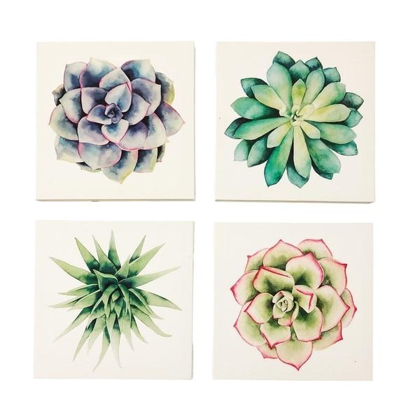 Bathroom Art Print Set Of 4: Shop Succulents Set Of 4 8X8 Canvas Wall Art Prints