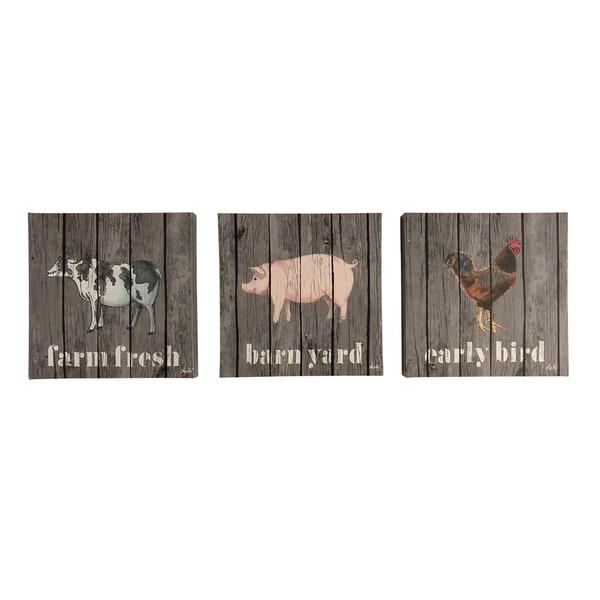 shop farmhouse farm animals set of 3 12x12 canvas art prints free