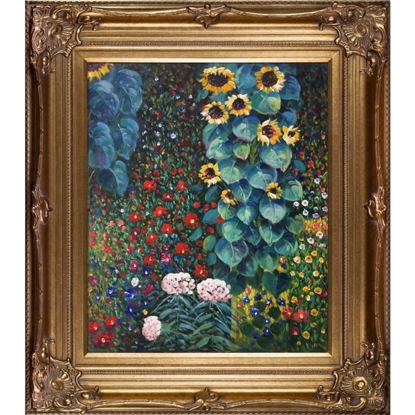 Gustav Klimt U0026#x27;Farm Garden With Sunflowersu0026#x27; Hand Painted Oil